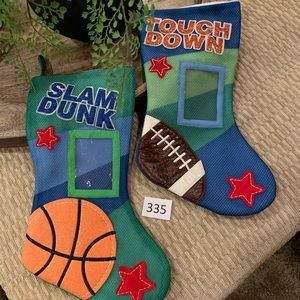 NEW!! 2 Christmas Stockings! Football & Basketball